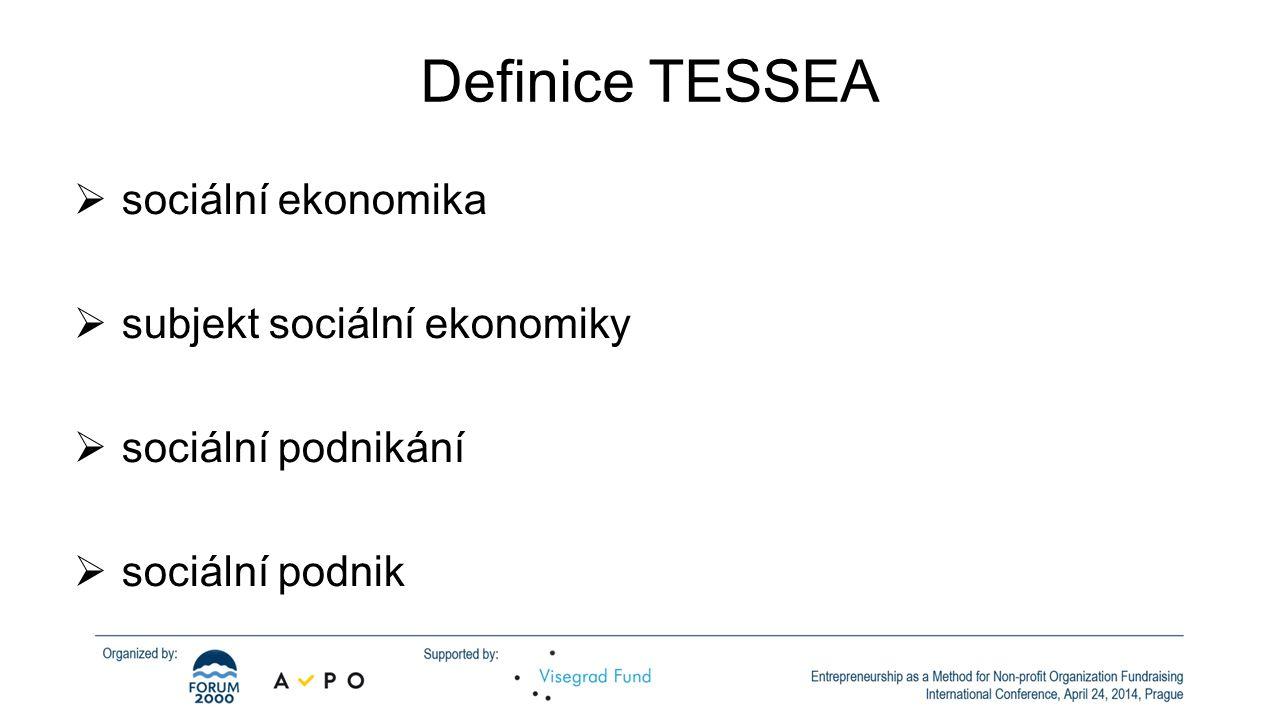 Definice TESSEA  sociální ekonomika  subjekt sociální ekonomiky  sociální podnikání  sociální podnik