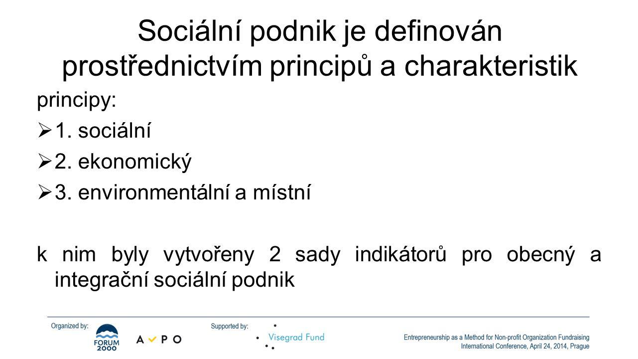 Sociální podnik je definován prostřednictvím principů a charakteristik principy:  1.
