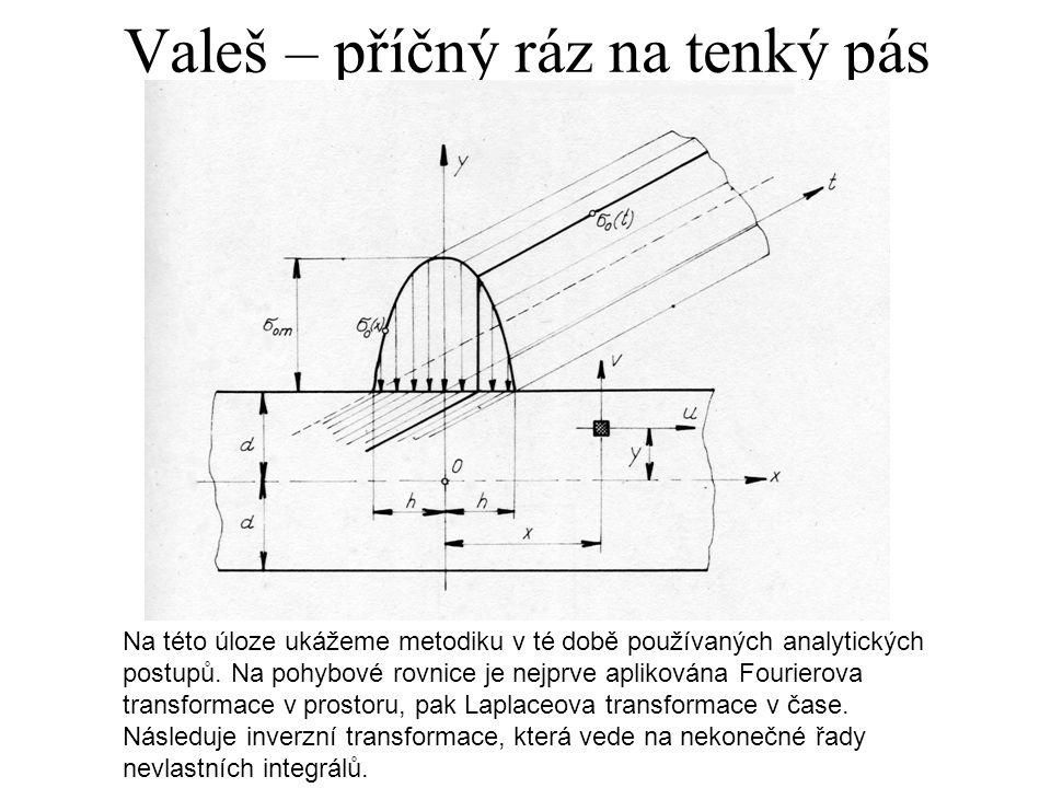 Valeš – příčný ráz na tenký pás Na této úloze ukážeme metodiku v té době používaných analytických postupů.