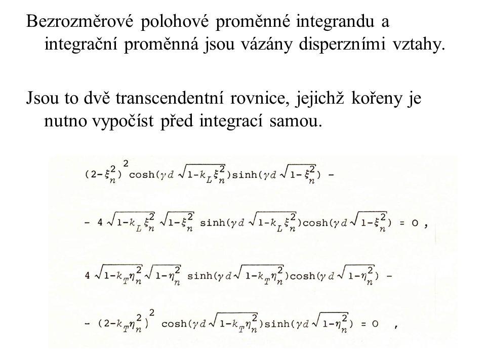 Bezrozměrové polohové proměnné integrandu a integrační proměnná jsou vázány disperzními vztahy.