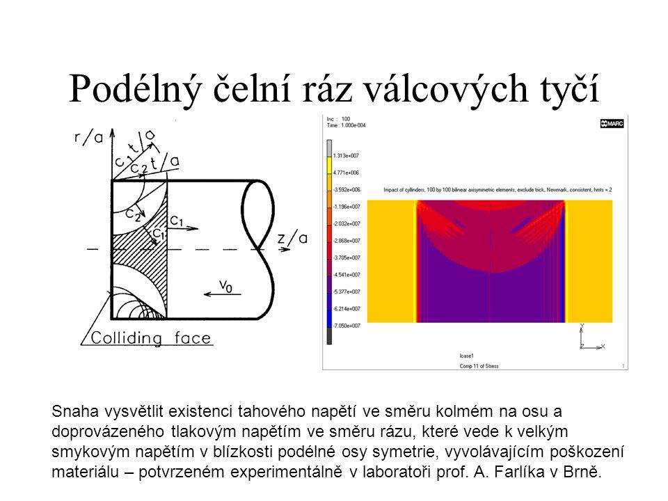 Podélný čelní ráz válcových tyčí Snaha vysvětlit existenci tahového napětí ve směru kolmém na osu a doprovázeného tlakovým napětím ve směru rázu, které vede k velkým smykovým napětím v blízkosti podélné osy symetrie, vyvolávajícím poškození materiálu – potvrzeném experimentálně v laboratoři prof.