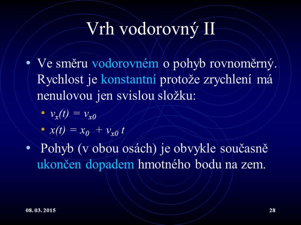 08. 03. 201528 Vrh vodorovný II Ve směru vodorovném o pohyb rovnoměrný. Rychlost je konstantní protože zrychlení má nenulovou jen svislou složku: v x