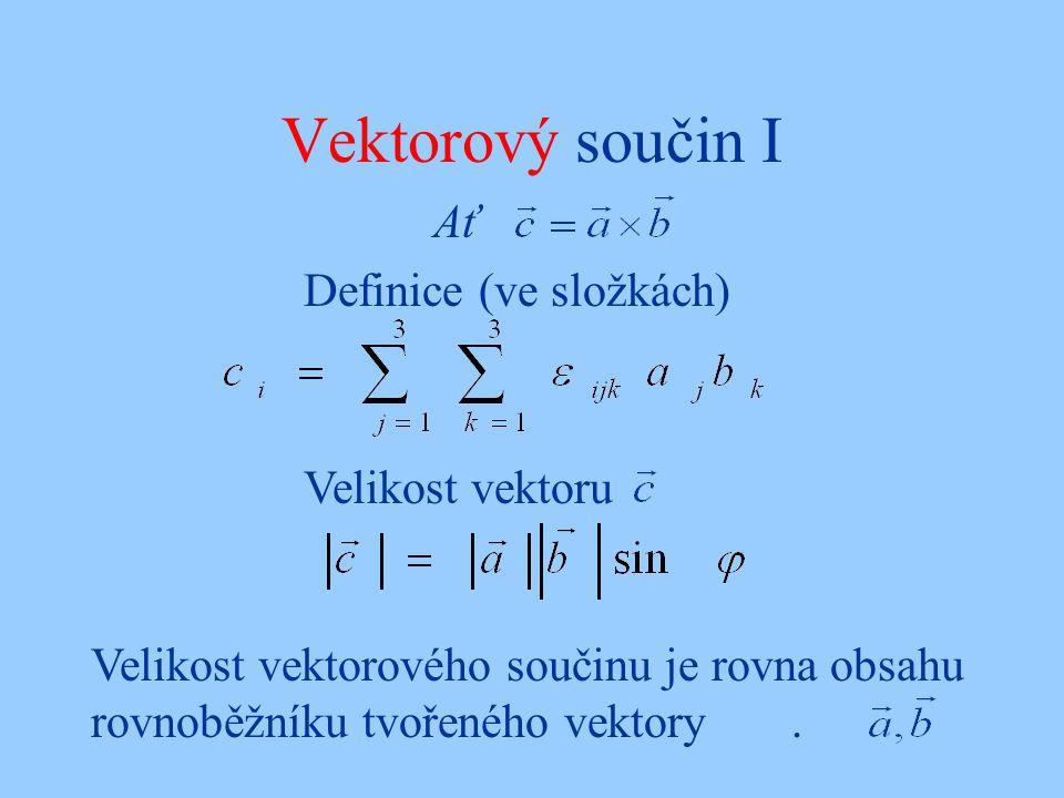 Vektorový součin I Ať Definice (ve složkách) Velikost vektoru Velikost vektorového součinu je rovna obsahu rovnoběžníku tvořeného vektory.