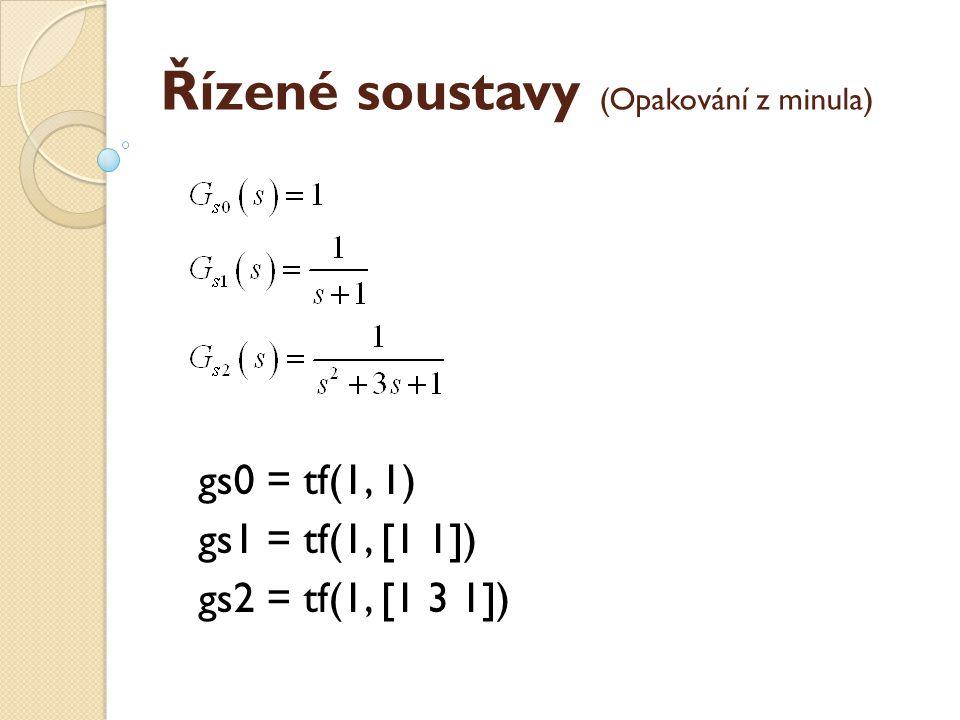 Opakování – přechodová a impulsní charakteristika Vykreslete přechodovou a impulsní charakteristiku následujících dvou přenosů: G1=tf([2 0],[3 5 1 1]) G2=zp([-0.5],[-1/3 -1/5],2/3*5)