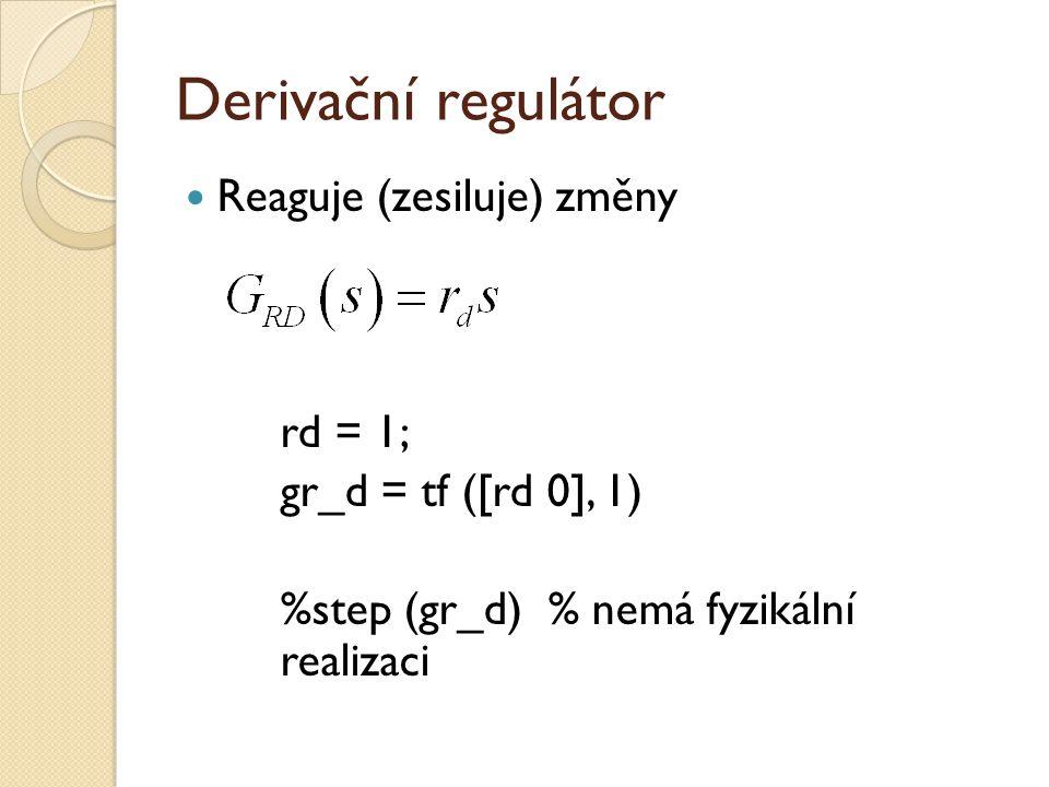 Proporcionálně-derivační regulátor Získáme paralelním zapojením proporcionálního a derivačního regulátoru pomocí blokové algebry gr_pd = gr_p + gr_d %step (gr_pd) % díky d-složce nemá fyzikální realizaci