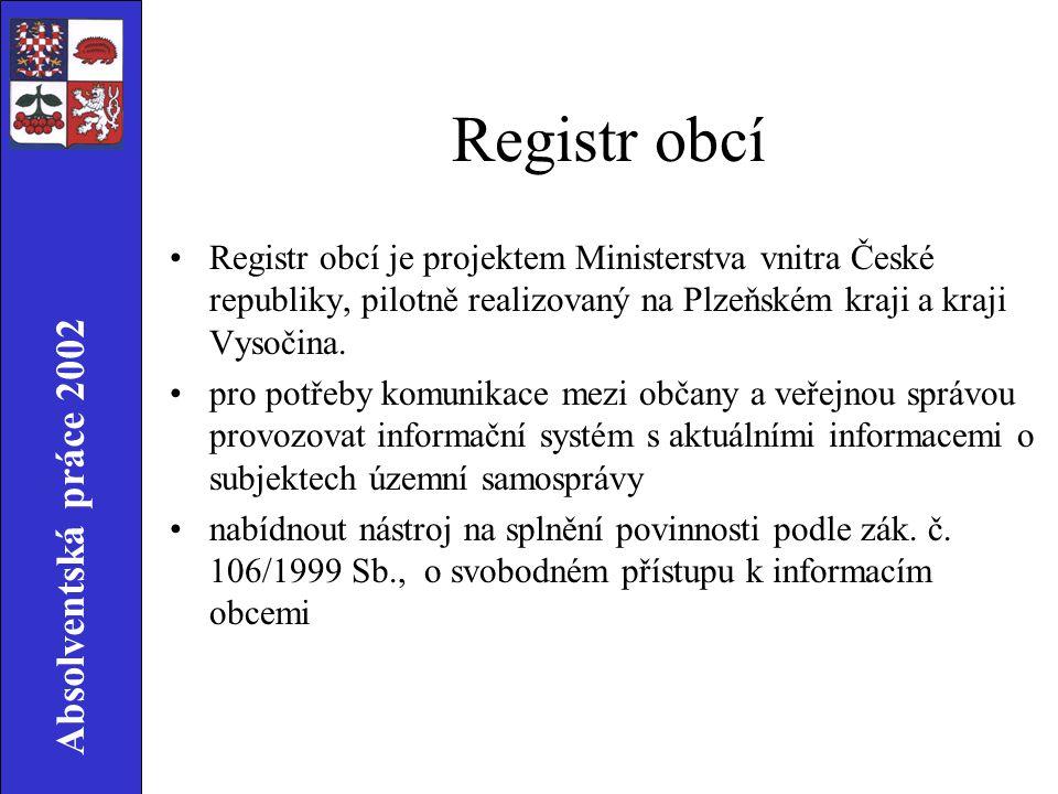 Absolventská práce 2002 Registr obcí Registr obcí je projektem Ministerstva vnitra České republiky, pilotně realizovaný na Plzeňském kraji a kraji Vysočina.