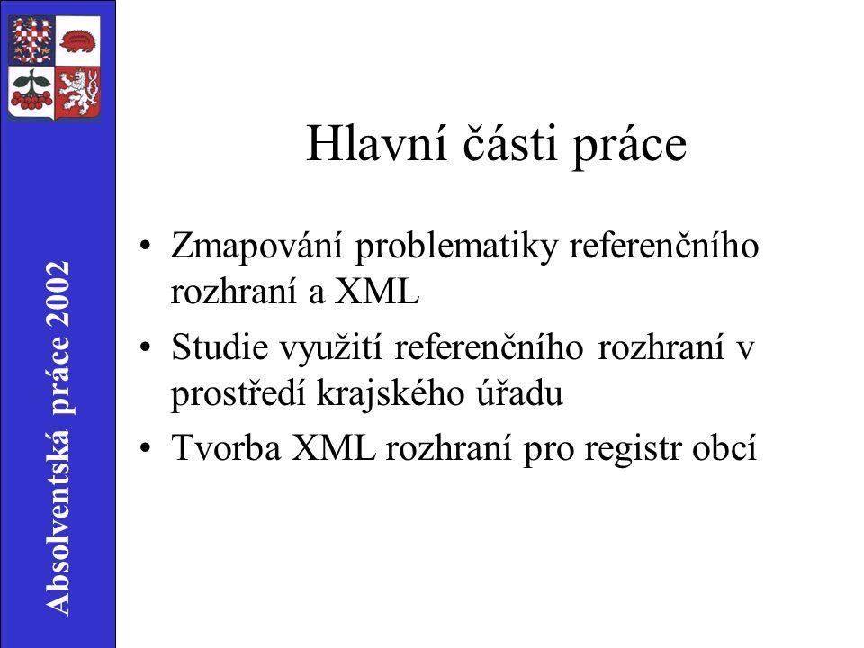 Absolventská práce 2002 XML rozhraní Požadavky zákona č.