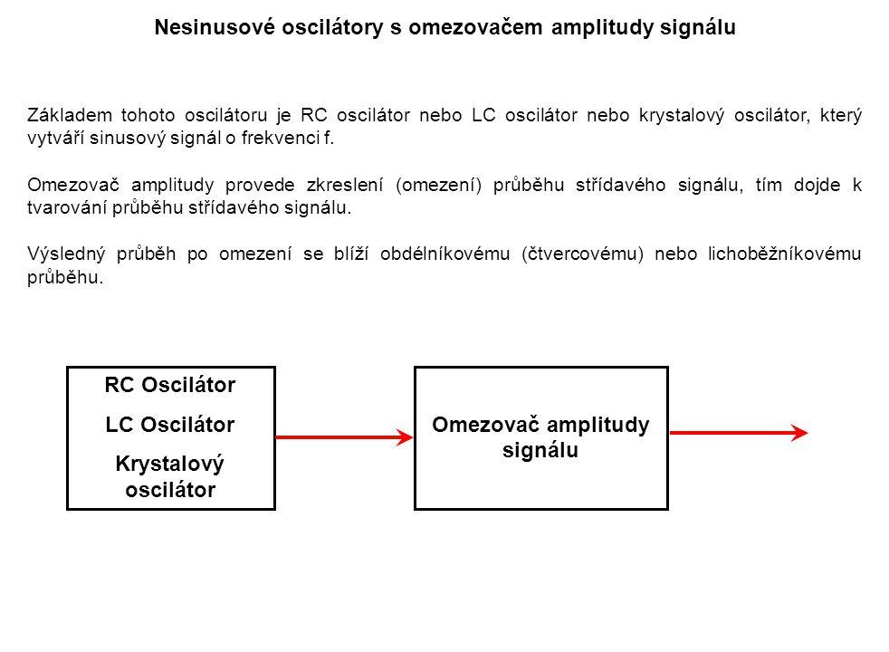 Nesinusové oscilátory s omezovačem amplitudy signálu Základem tohoto oscilátoru je RC oscilátor nebo LC oscilátor nebo krystalový oscilátor, který vyt