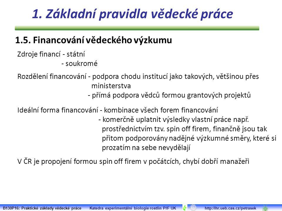 1.5. Financování vědeckého výzkumu Zdroje financí - státní - soukromé Rozdělení financování - podpora chodu institucí jako takových, většinou přes min