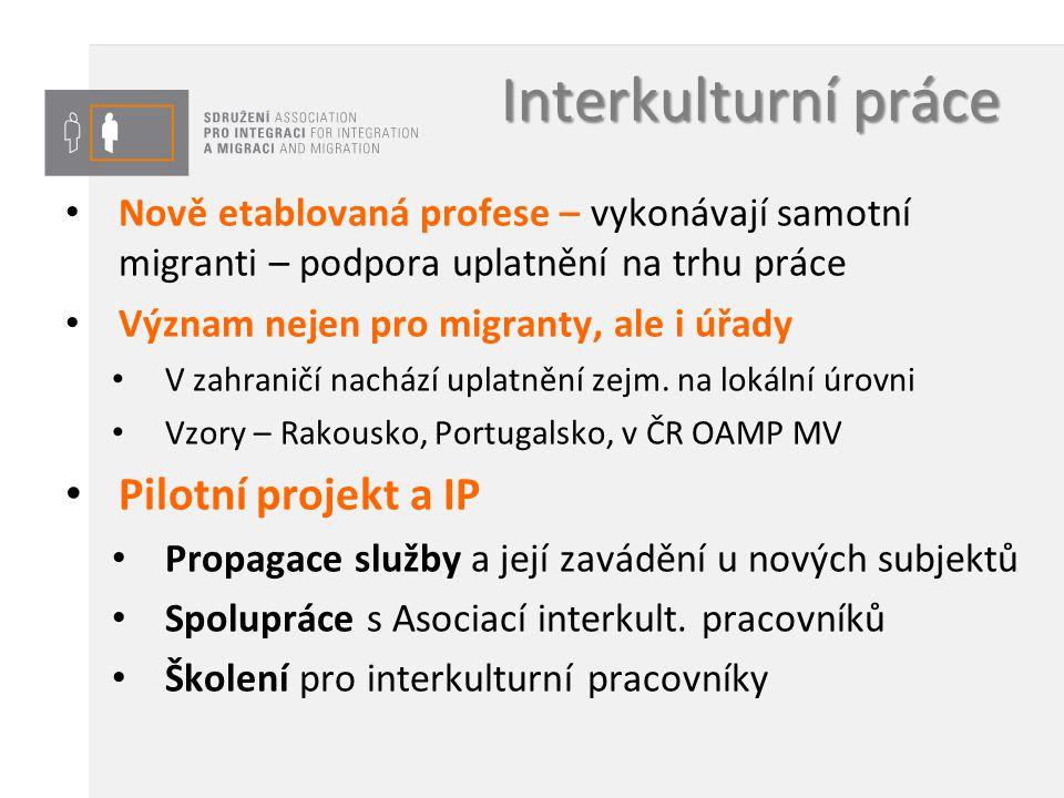 Interkulturní práce Nově etablovaná profese – vykonávají samotní migranti – podpora uplatnění na trhu práce Význam nejen pro migranty, ale i úřady V z