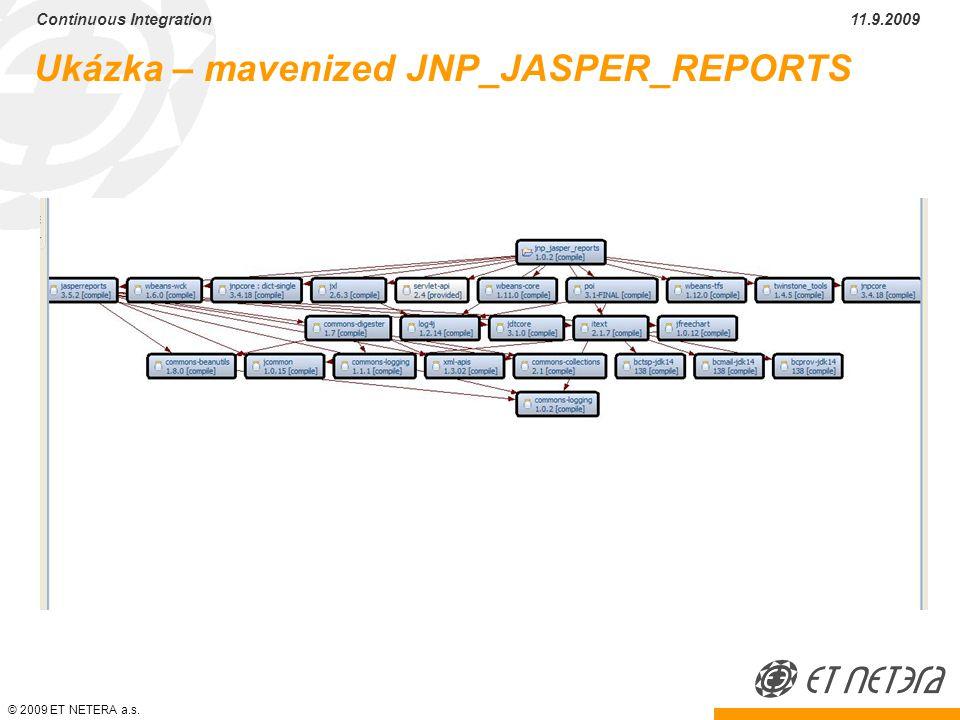 © 2009 ET NETERA a.s. Continuous Integration 11.9.2009 Ukázka – mavenized JNP_JASPER_REPORTS