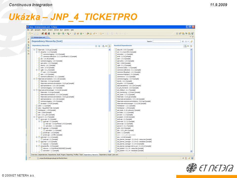 © 2009 ET NETERA a.s. Continuous Integration 11.9.2009 Ukázka – JNP_4_TICKETPRO