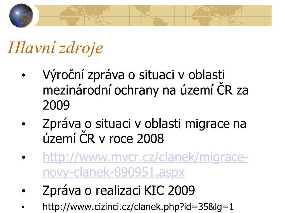 Hlavní zdroje Výroční zpráva o situaci v oblasti mezinárodní ochrany na území ČR za 2009 Zpráva o situaci v oblasti migrace na území ČR v roce 2008 http://www.mvcr.cz/clanek/migrace- novy-clanek-890951.aspx http://www.mvcr.cz/clanek/migrace- novy-clanek-890951.aspx Zpráva o realizaci KIC 2009 http://www.cizinci.cz/clanek.php id=35&lg=1