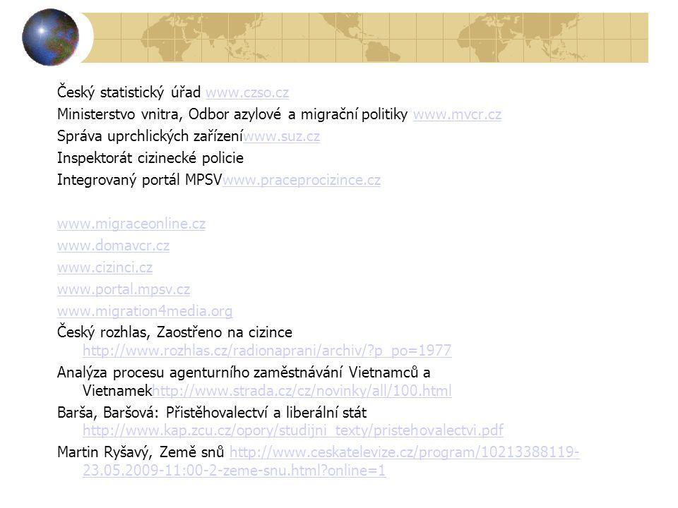 Český statistický úřad www.czso.czwww.czso.cz Ministerstvo vnitra, Odbor azylové a migrační politiky www.mvcr.czwww.mvcr.cz Správa uprchlických zařízeníwww.suz.czwww.suz.cz Inspektorát cizinecké policie Integrovaný portál MPSVwww.praceprocizince.czwww.praceprocizince.cz www.migraceonline.cz www.domavcr.cz www.cizinci.cz www.portal.mpsv.cz www.migration4media.org Český rozhlas, Zaostřeno na cizince http://www.rozhlas.cz/radionaprani/archiv/ p_po=1977 http://www.rozhlas.cz/radionaprani/archiv/ p_po=1977 Analýza procesu agenturního zaměstnávání Vietnamců a Vietnamekhttp://www.strada.cz/cz/novinky/all/100.htmlhttp://www.strada.cz/cz/novinky/all/100.html Barša, Baršová: Přistěhovalectví a liberální stát http://www.kap.zcu.cz/opory/studijni_texty/pristehovalectvi.pdf http://www.kap.zcu.cz/opory/studijni_texty/pristehovalectvi.pdf Martin Ryšavý, Země snů http://www.ceskatelevize.cz/program/10213388119- 23.05.2009-11:00-2-zeme-snu.html online=1http://www.ceskatelevize.cz/program/10213388119- 23.05.2009-11:00-2-zeme-snu.html online=1