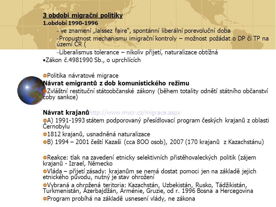 2.období 1996 – 1999 – Zpřísňování cizineckých předpisů a praxe – Důvody vnitřní:nezaměstnanost, obavy z ilegální migrace – Důvody vnější: harmonizace s předpisy EU – Drbohlav 1998: Migrační politika ČR se vytvořila sama, a to díky postupné (plánované a realizované) integraci do západoevropských struktur.