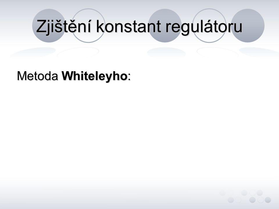Zjištění konstant regulátoru Metoda Whiteleyho: