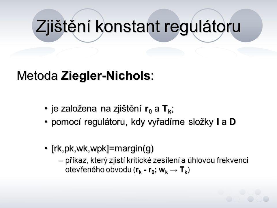 Zjištění konstant regulátoru –Metoda Ziegler-Nichols (dokončení) určení parametrů regulátoru z kritického zesílení a kritické periodyurčení parametrů regulátoru z kritického zesílení a kritické periody r0r0r0r0 TiTiTiTi TdTdTdTd P 0,5*r ok -- PI 0,45*r ok 0,83*T k - PD 0,4*r ok - 0,05*T k PID 0,6*r ok 0,5*T k 0,12*T k