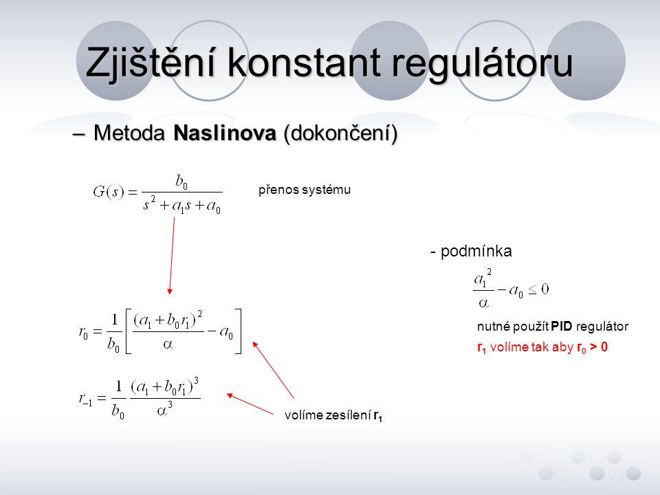 Zjištění konstant regulátoru –Metoda Naslinova (dokončení) přenos systému volíme zesílení r 1 - podmínka nutné použít PID regulátor r 1 volíme tak aby