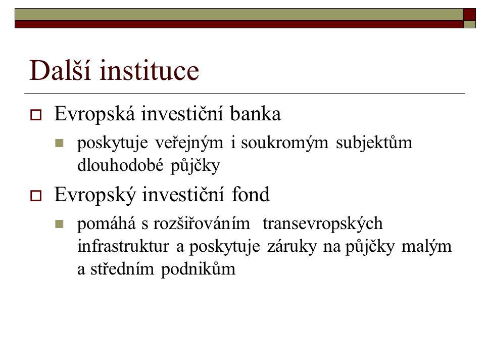 Další instituce  Evropská investiční banka poskytuje veřejným i soukromým subjektům dlouhodobé půjčky  Evropský investiční fond pomáhá s rozšiřováním transevropských infrastruktur a poskytuje záruky na půjčky malým a středním podnikům