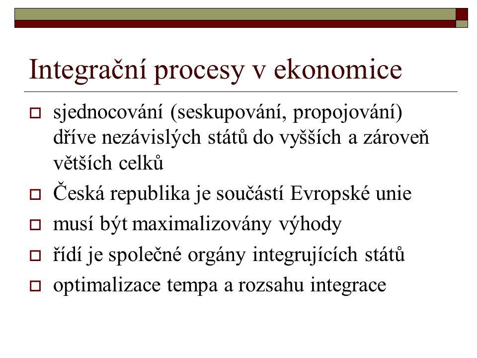  sjednocování (seskupování, propojování) dříve nezávislých států do vyšších a zároveň větších celků  Česká republika je součástí Evropské unie  musí být maximalizovány výhody  řídí je společné orgány integrujících států  optimalizace tempa a rozsahu integrace