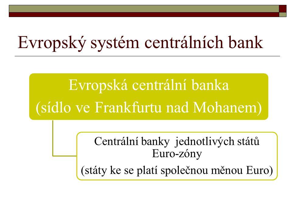 Evropský systém centrálních bank Evropská centrální banka (sídlo ve Frankfurtu nad Mohanem) Centrální banky jednotlivých států Euro-zóny (státy ke se platí společnou měnou Euro)