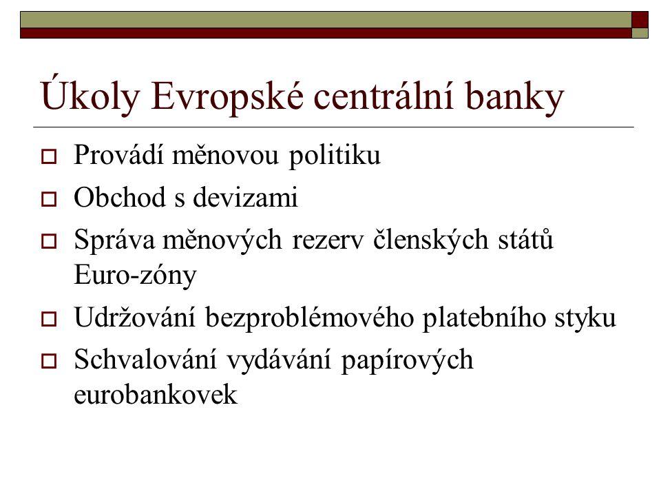 Úkoly Evropské centrální banky  Provádí měnovou politiku  Obchod s devizami  Správa měnových rezerv členských států Euro-zóny  Udržování bezproblémového platebního styku  Schvalování vydávání papírových eurobankovek