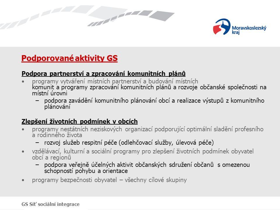 GS Síť sociální integrace Podporované aktivity GS Podpora partnerství a zpracování komunitních plánů programy vytváření místních partnerství a budován