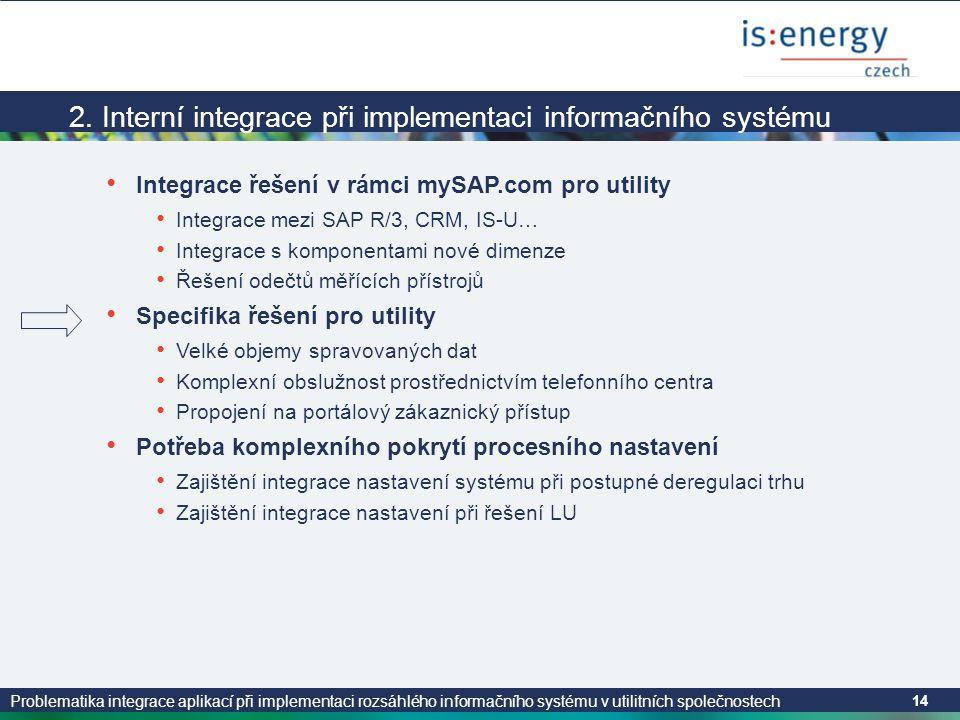 Problematika integrace aplikací při implementaci rozsáhlého informačního systému v utilitních společnostech 14 2. Interní integrace při implementaci i