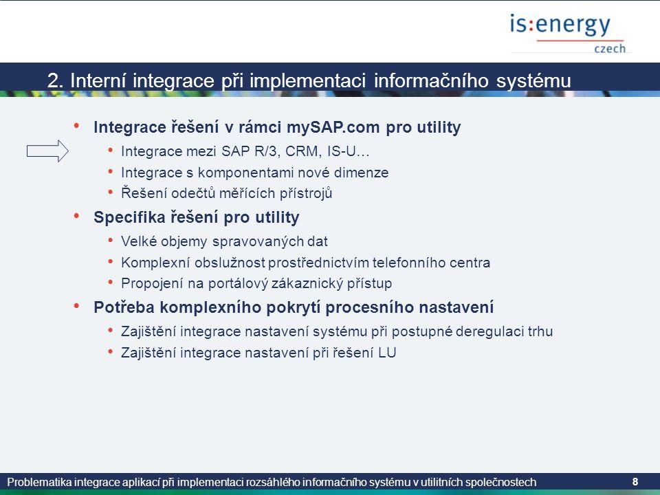Problematika integrace aplikací při implementaci rozsáhlého informačního systému v utilitních společnostech 8 2. Interní integrace při implementaci in