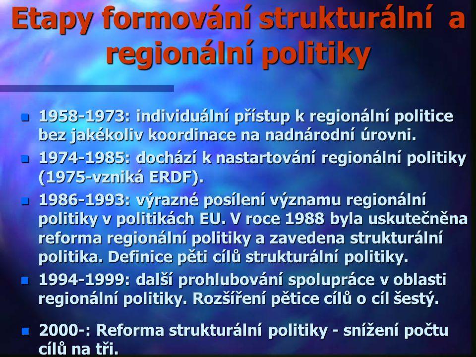Rozdělení finančních prostředků určených na struktrurální politiku dle jednotlivých cílů v letech 1994-1999