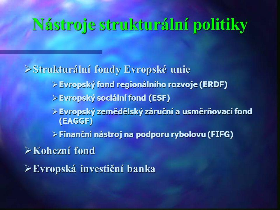 Zásady (principy) strukturální politiky  Princip koncentrace  Princip adicionality (doplňkovosti)  Princip partnerství  Princip programování  Pri