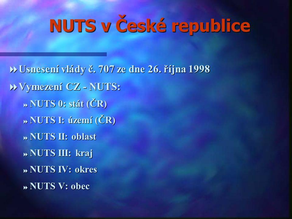 Územní členění Evropské unie  Nomenklatura územních statistických jednotek (NUTS).  Vymezení NUTS vychází ze zásady komplementarity:  NUTS I: jedno