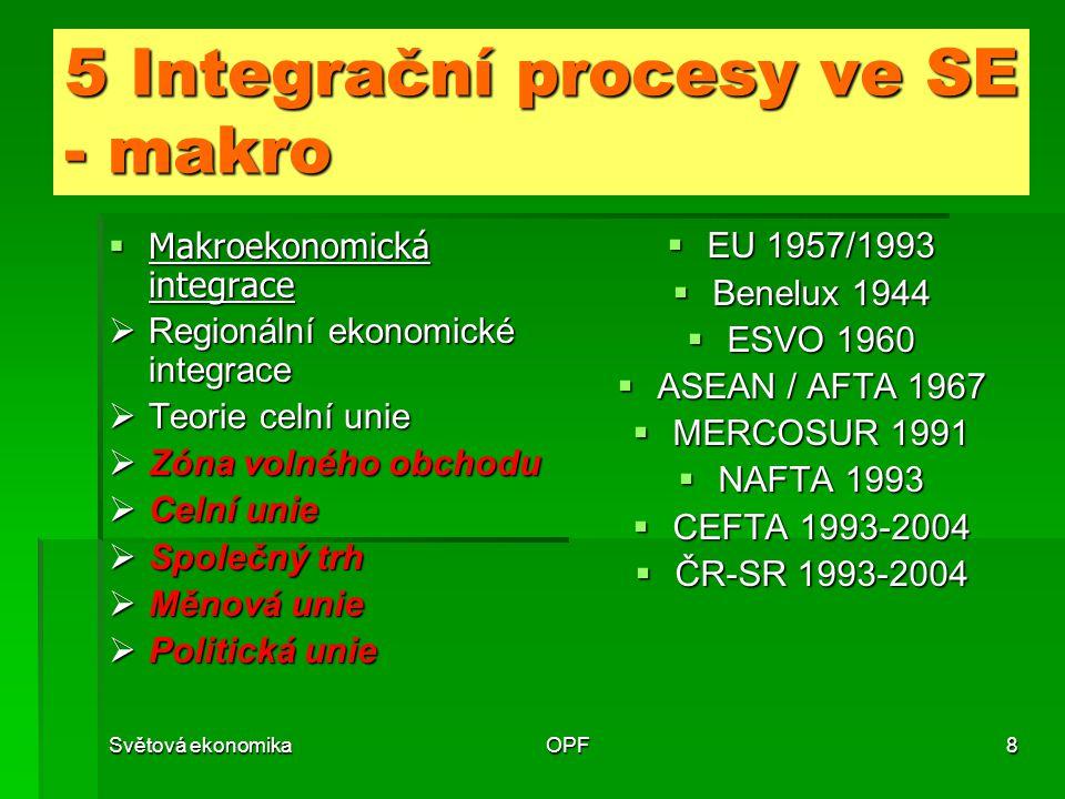 Světová ekonomikaOPF8 5 Integrační procesy ve SE - makro  Makroekonomická integrace  Regionální ekonomické integrace  Teorie celní unie  Zóna volného obchodu  Celní unie  Společný trh  Měnová unie  Politická unie  EU 1957/1993  Benelux 1944  ESVO 1960  ASEAN / AFTA 1967  MERCOSUR 1991  NAFTA 1993  CEFTA 1993-2004  ČR-SR 1993-2004