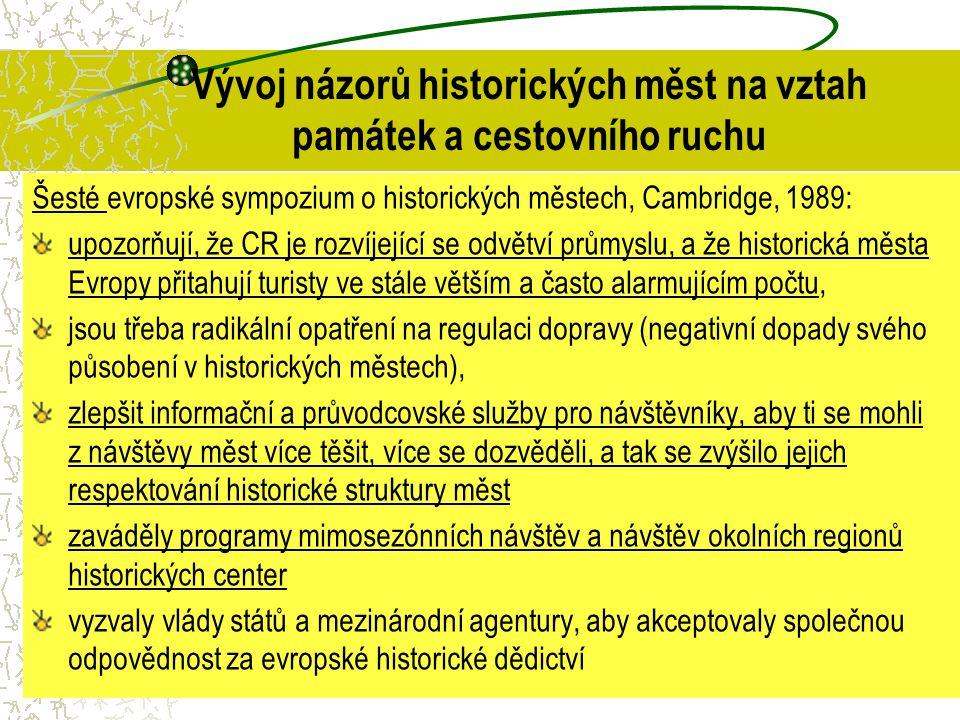 Vývoj názorů historických měst na vztah památek a cestovního ruchu Šesté evropské sympozium o historických městech, Cambridge, 1989: upozorňují, že CR