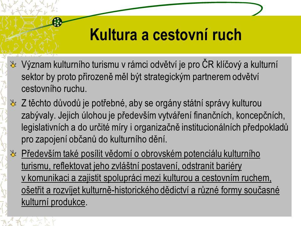 Kultura a cestovní ruch Význam kulturního turismu v rámci odvětví je pro ČR klíčový a kulturní sektor by proto přirozeně měl být strategickým partnere