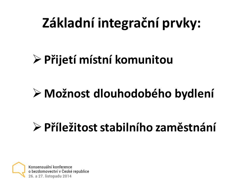 Základní integrační prvky:  Přijetí místní komunitou  Možnost dlouhodobého bydlení  Příležitost stabilního zaměstnání