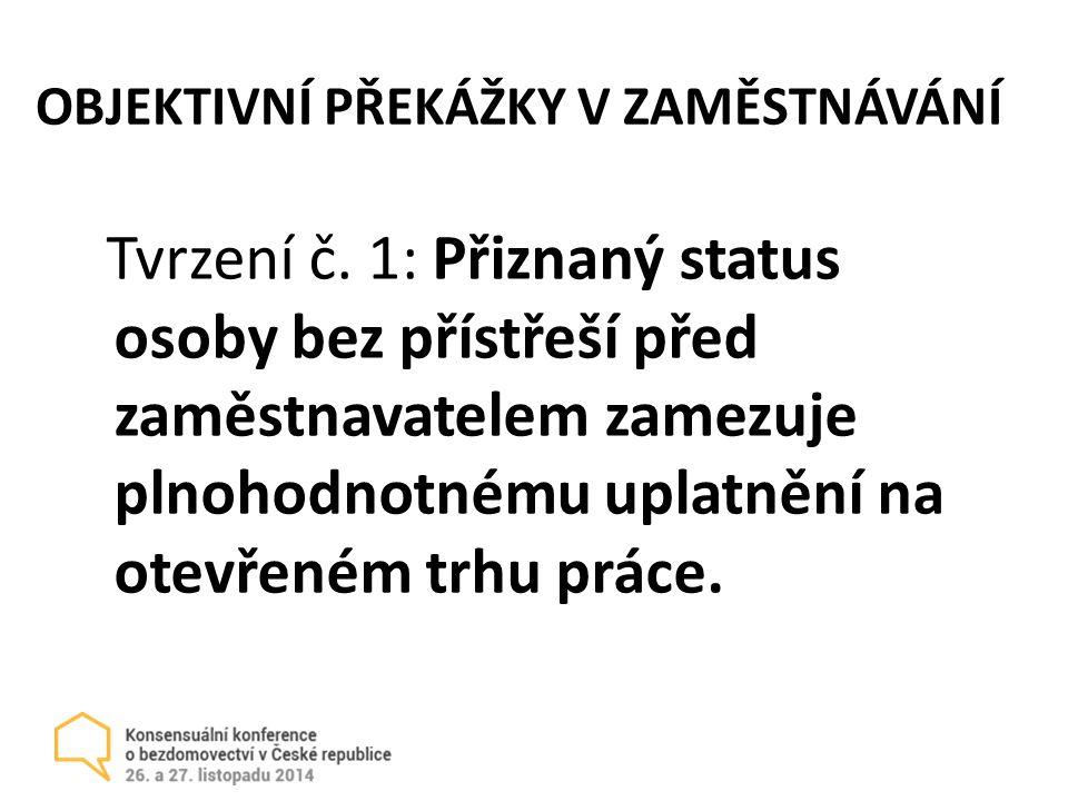 OBJEKTIVNÍ PŘEKÁŽKY V ZAMĚSTNÁVÁNÍ Tvrzení č.