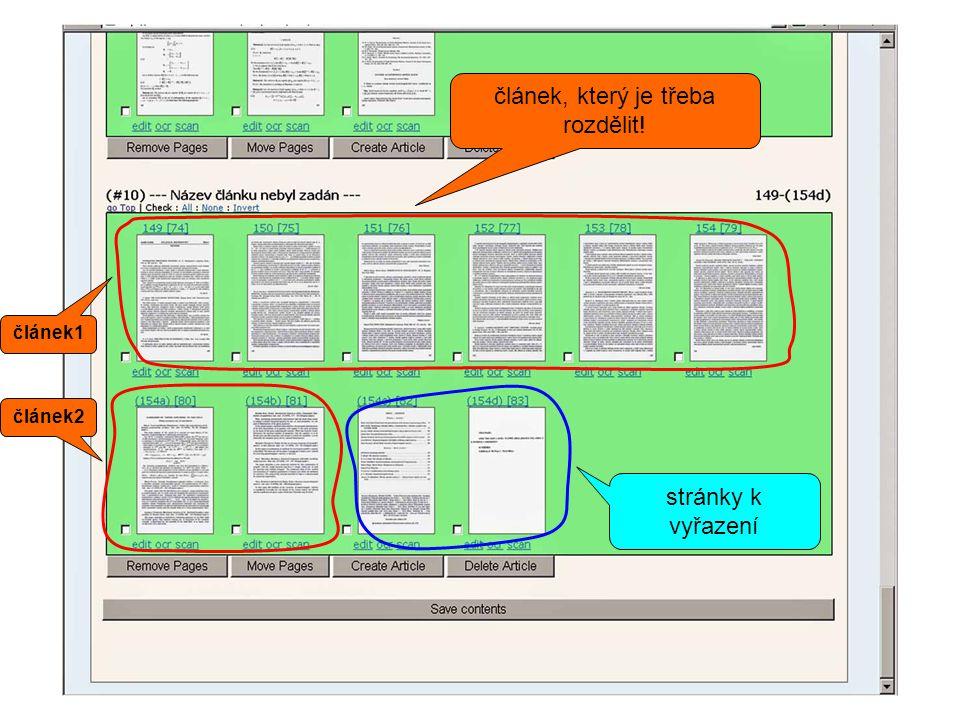 stránky k vyřazení článek1 článek2 článek, který je třeba rozdělit!