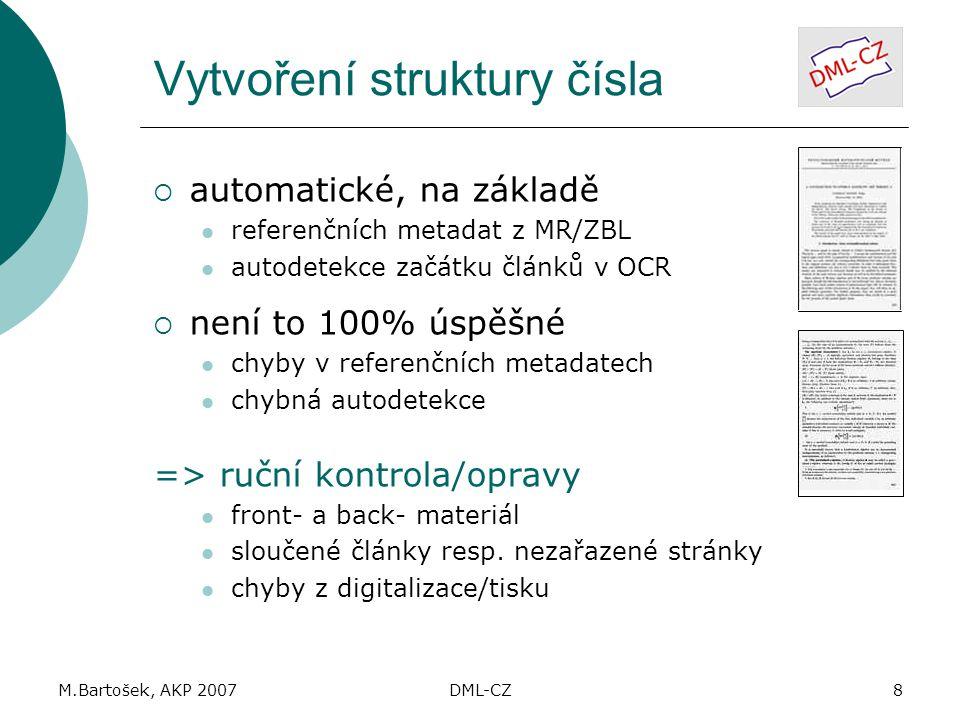 M.Bartošek, AKP 2007DML-CZ8 Vytvoření struktury čísla  automatické, na základě referenčních metadat z MR/ZBL autodetekce začátku článků v OCR  není to 100% úspěšné chyby v referenčních metadatech chybná autodetekce => ruční kontrola/opravy front- a back- materiál sloučené články resp.