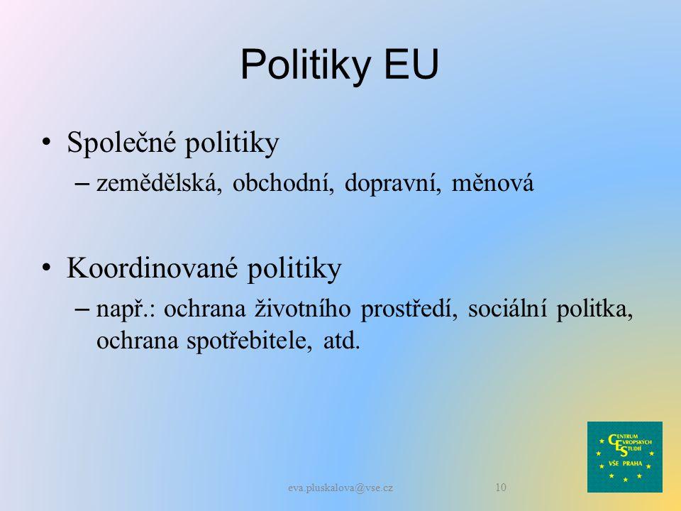 Politiky EU Společné politiky – zemědělská, obchodní, dopravní, měnová Koordinované politiky – např.: ochrana životního prostředí, sociální politka, ochrana spotřebitele, atd.