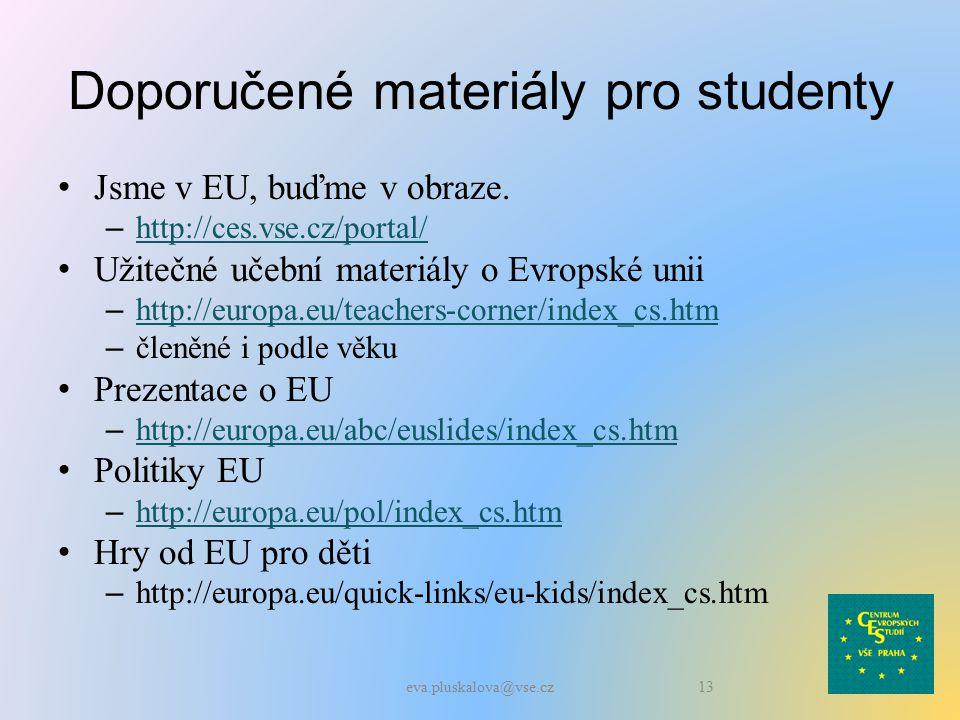 Doporučené materiály pro studenty Jsme v EU, buďme v obraze.