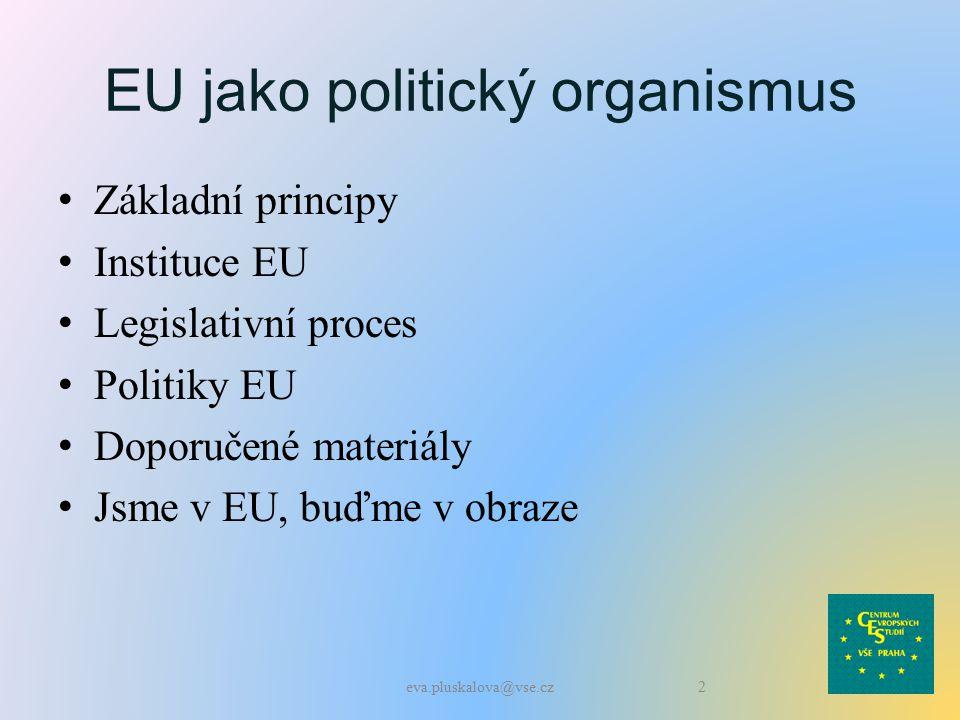 EU jako politický organismus Základní principy Instituce EU Legislativní proces Politiky EU Doporučené materiály Jsme v EU, buďme v obraze 2eva.pluskalova@vse.cz