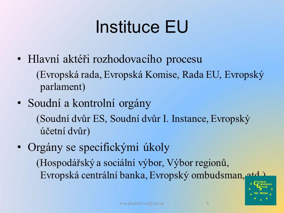 Instituce EU Hlavní aktéři rozhodovacího procesu (Evropská rada, Evropská Komise, Rada EU, Evropský parlament) Soudní a kontrolní orgány (Soudní dvůr ES, Soudní dvůr I.