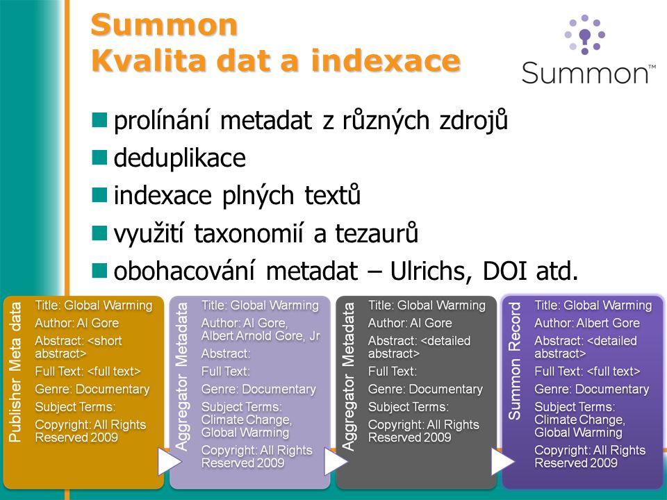 Summon Kvalita dat a indexace prolínání metadat z různých zdrojů deduplikace indexace plných textů využití taxonomií a tezaurů obohacování metadat – Ulrichs, DOI atd.