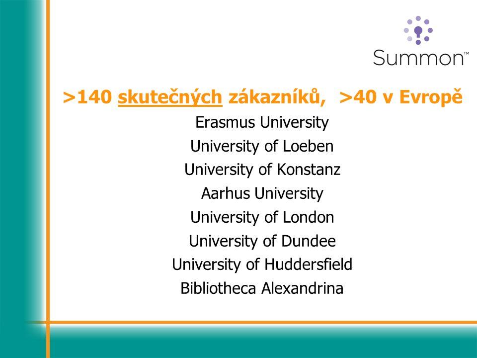 >140 skutečných zákazníků, >40 v Evropě Erasmus University University of Loeben University of Konstanz Aarhus University University of London University of Dundee University of Huddersfield Bibliotheca Alexandrina