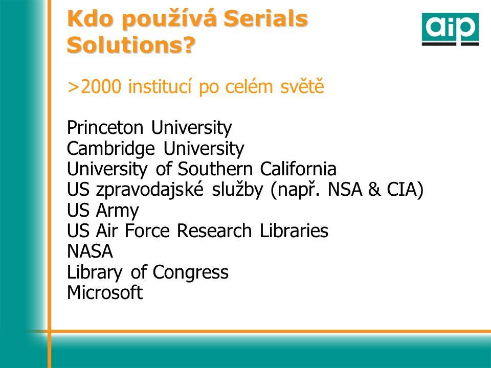 Kdo používá Serials Solutions.
