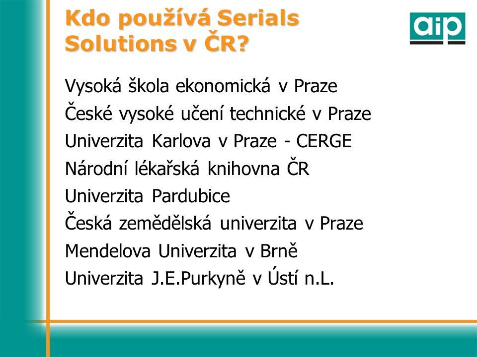 Kdo používá Serials Solutions v ČR.