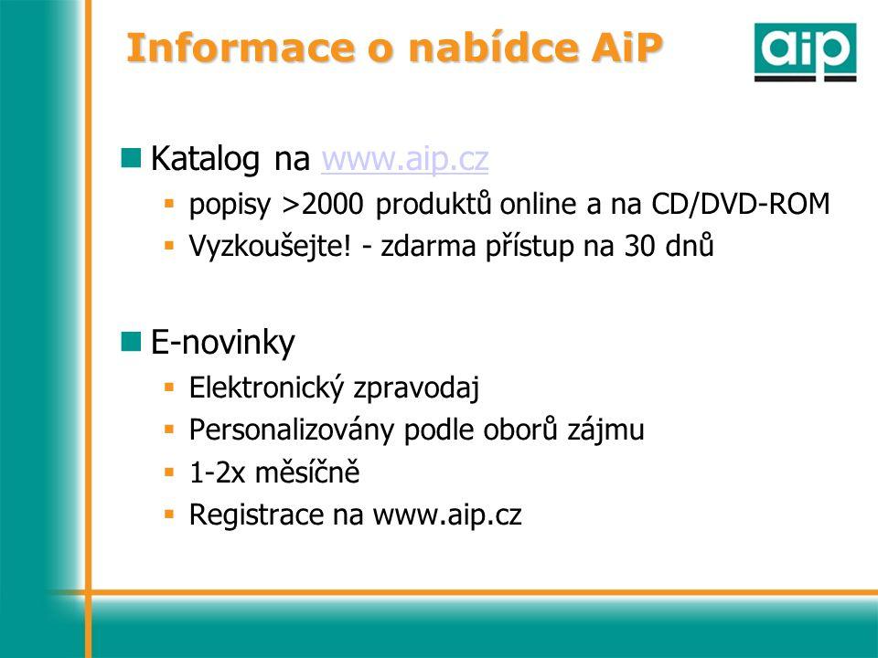 Informace o nabídce AiP Katalog na www.aip.czwww.aip.cz  popisy >2000 produktů online a na CD/DVD-ROM  Vyzkoušejte.