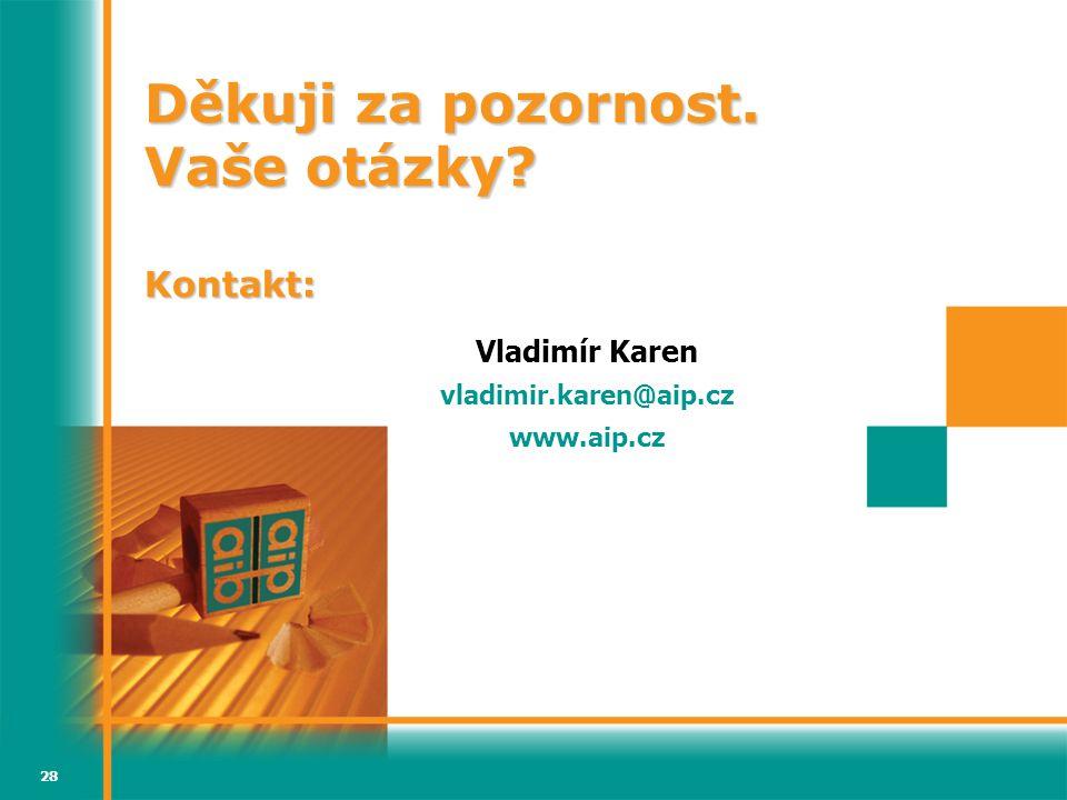 28 Děkuji za pozornost. Vaše otázky Kontakt: Vladimír Karen vladimir.karen@aip.cz www.aip.cz