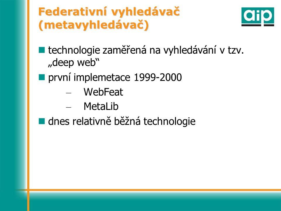 Federativní vyhledávač (metavyhledávač) technologie zaměřená na vyhledávání v tzv.